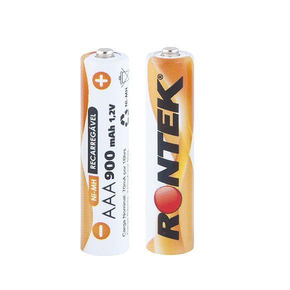 Bateria Recarregável AAA 1,2V 900mAh (11x45mm) c/ 02 UN Rontek