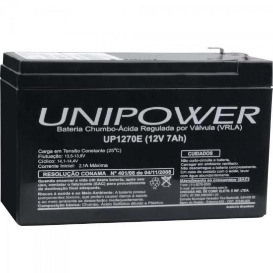 Bateria Selada 12v 7A UP12 UP1270 (Nobreak) Unipower  - Eletroinfocia