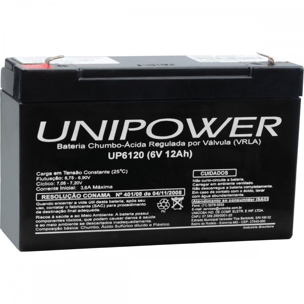 Bateria Selada 6V 12AH UP6120 Unipower
