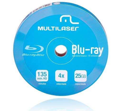 Mídia Blu-ray 25GB 6X Imprimível c/ 10UN DV057 Multilaser