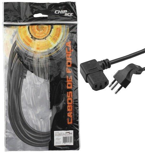 Cabo de Força Tripolar C/ Plug Macho 90 Graus 1,5M Chip Sce