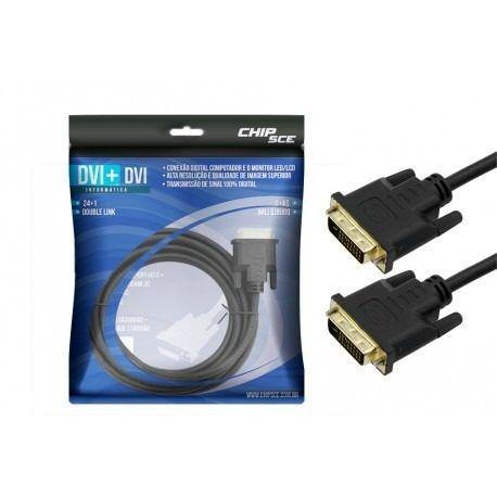 Cabo DVI 24+1 Macho x DVI 24+1 Macho 3,0M Chip SCE  - Eletroinfocia