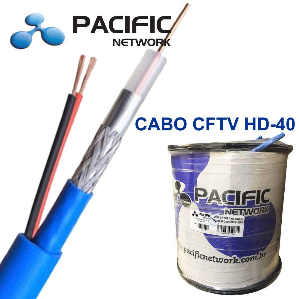 Cabo HD-40  2X18 AWG-75 OHMS-96% Malha Dupla Blindagem CFTV BC c/ 100mts Pacifc Network
