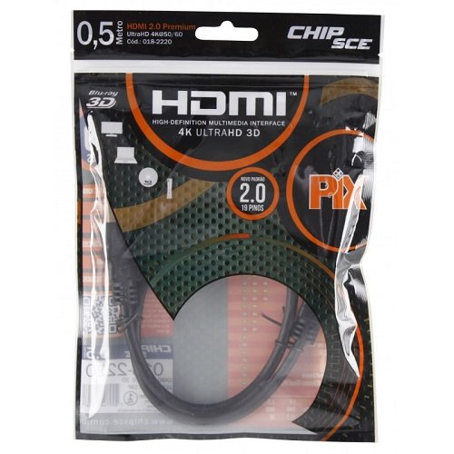 Cabo HDMI 50CM 2.0 4K 19 Pinos  CHIP SCE