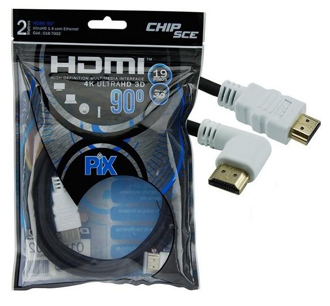 Cabo HDMI 90 Graus 2 Metros 1.4 4K UltraHD 19 Pinos Chip Sce