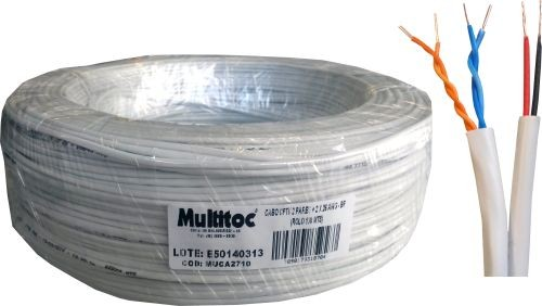 Cabo Manga CFTV 2 Pares + 2X26 AWG Branco c/ 100mts Multitoc