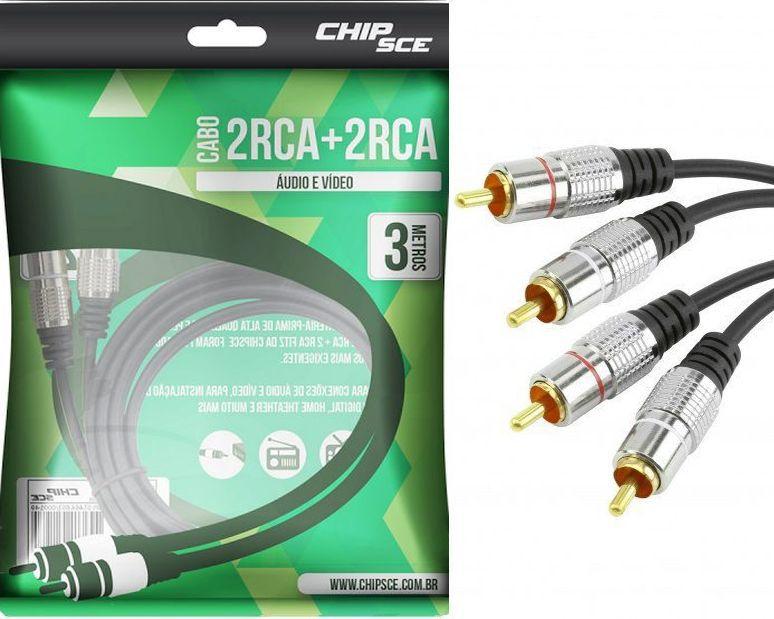 Cabo RCA Fitz 2 + 2 RCA Plug Metal 3 metros ChipSce
