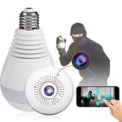 Câmera Lâmpada IP Panorâmica 360º Wi-fi 1 3 MP VR Cam V380