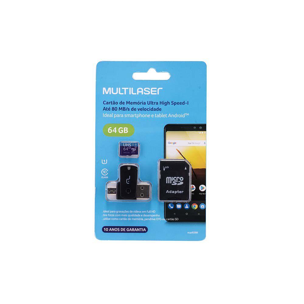 Cartão de Memória 64GB 4X1 Adap. USB Dual Drive + Adap. SD + UHS1 C10 MC152 Multilaser  - Eletroinfocia