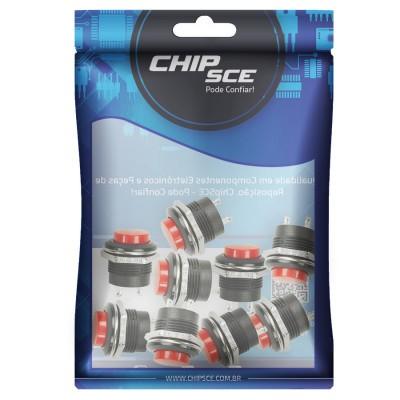 Chave Push Button s/ Trava R13-507 2 Terminais Vermelho  - Eletroinfocia
