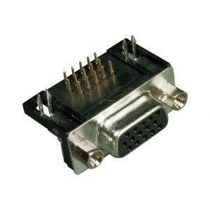 Conector DB15 D-Sub HD Ângulo Reto p/ PCI Longo