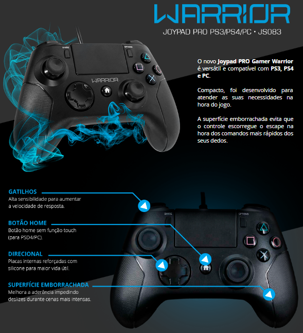 Controle Joystick Warrior Gamer PS4/PC JS083 Multilaser  - Eletroinfocia