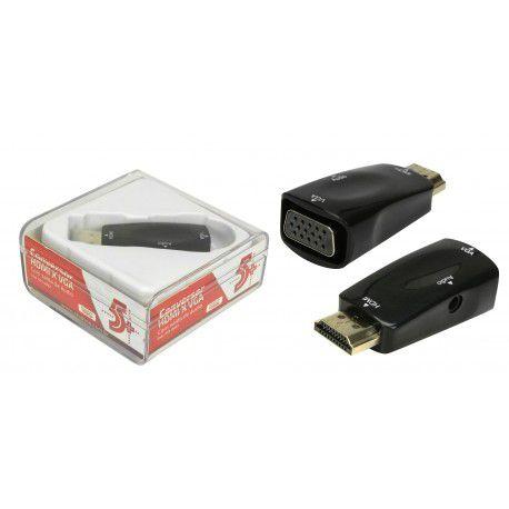 Conversor Plug HDMI p/ VGA Com Saída R/L Chip Sce