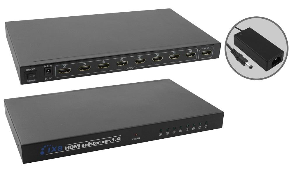 Divisor Splitter HDMI 1 Entrada 8 Saídas compatível p/ TV 3D Pix