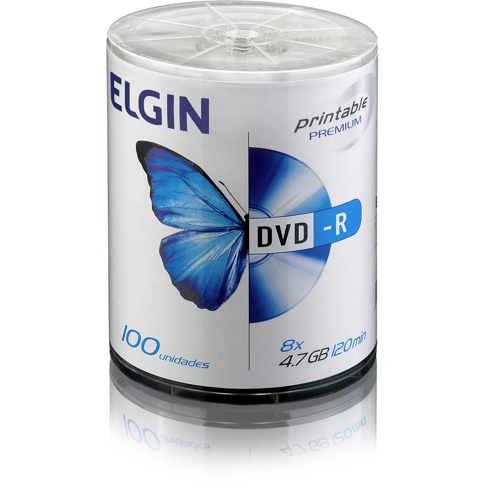 Mídia DVD-R 4.7GB 16X Printable c/ 100UN Elgin  - Eletroinfocia