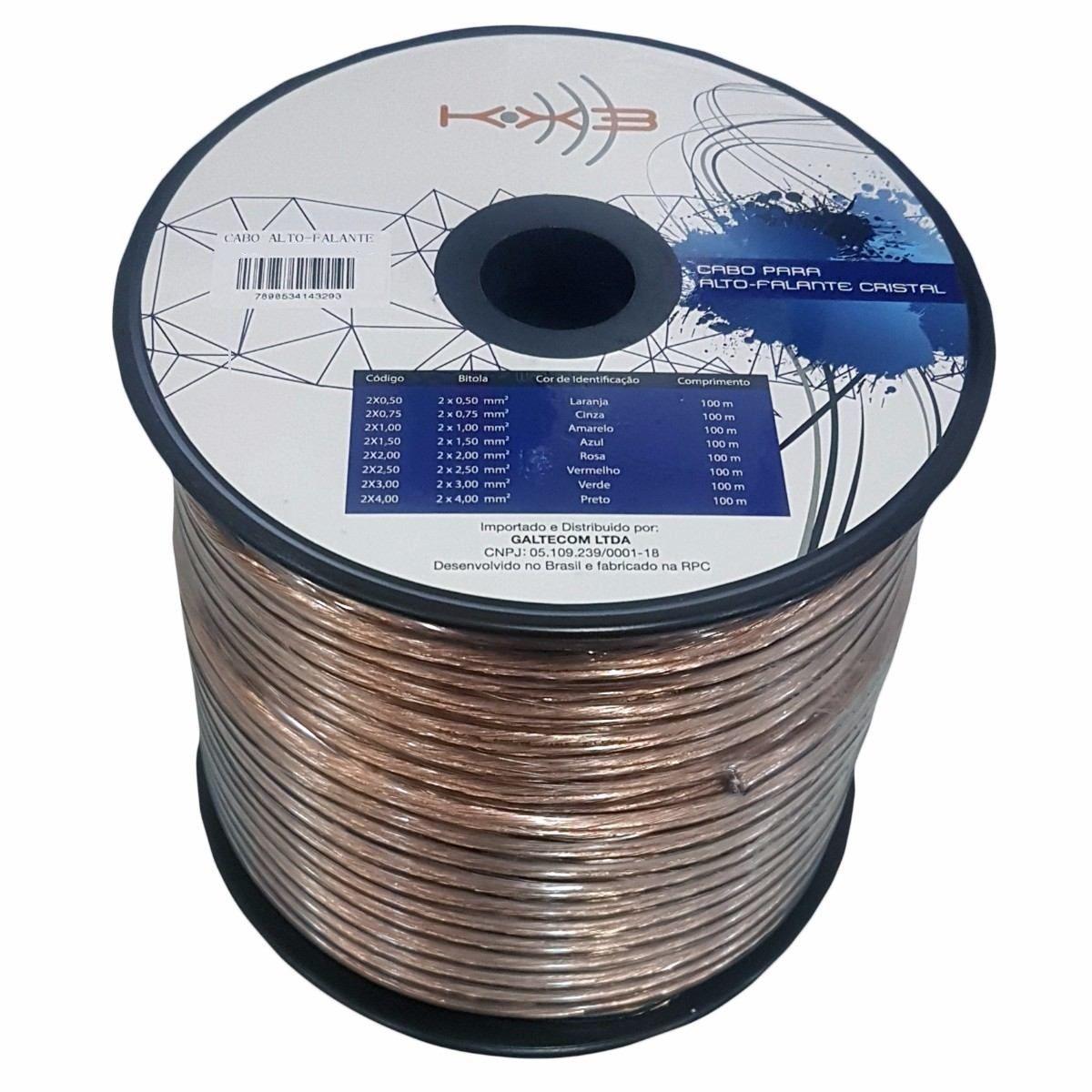 Fio Paralelo 2X4,00 mm Cristal Preto (Metro) KX3  - Eletroinfocia