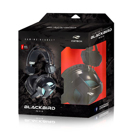 Fone c/ Microfone Gamer Blackbird PH-G110BK C3 Tech  - Eletroinfocia
