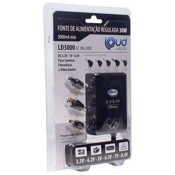 Fonte Regulada Ajustavel 3.3-8.4V 3000MA 30W Bivolt LD3000 Loud  - Eletroinfocia