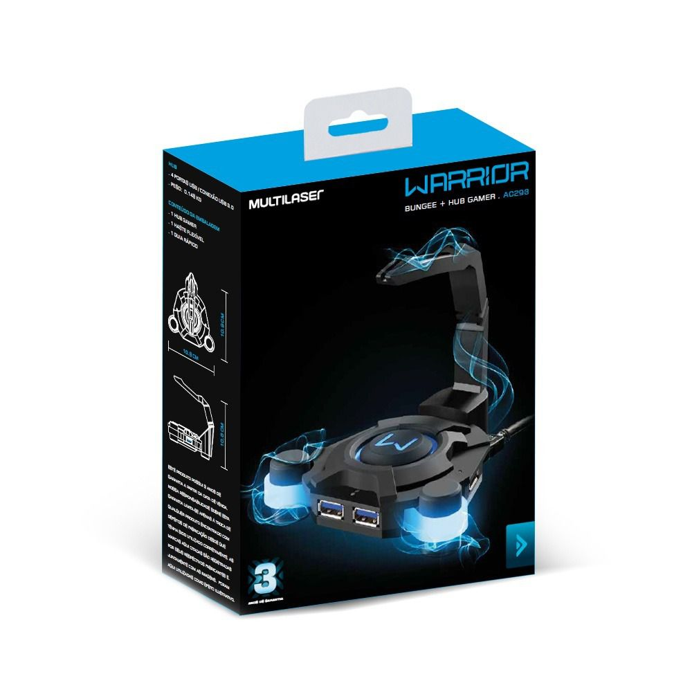Hub USB 3.0 4 Portas Warrior Gamer AC293 Multilaser  - Eletroinfocia