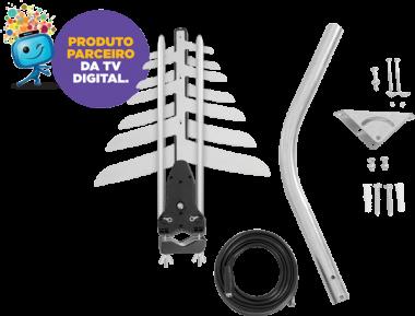 Kit Antena de TV Externa Digital UHF/VHF/FM/HDTV AE 4010  - Eletroinfocia