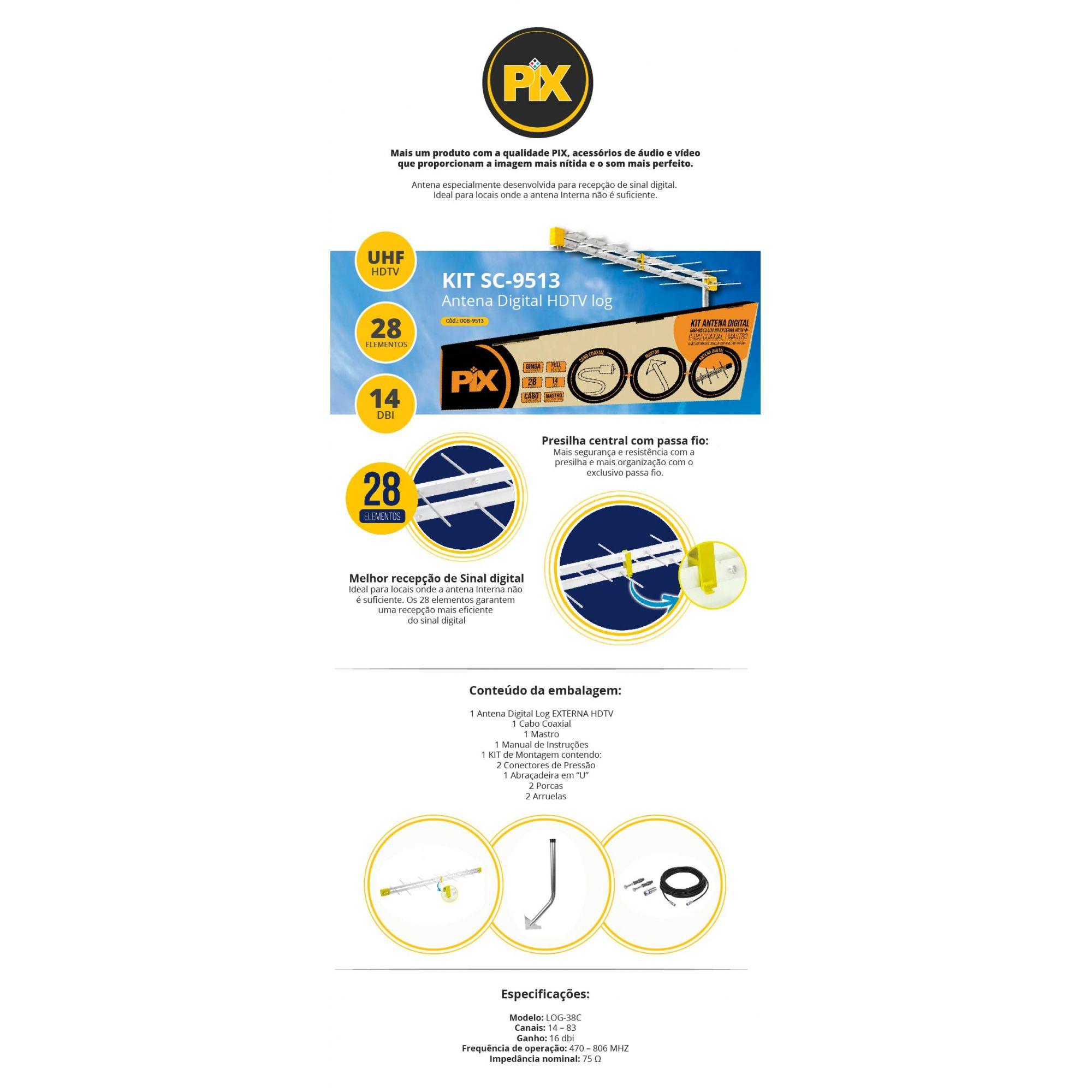 Kit Antena HDTV LOG 28 Elementos + Matro / Cabo / Conectores Pix  - Eletroinfocia