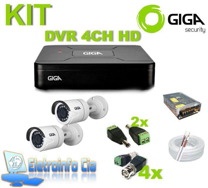 Kit Completo DVR 4 Canais 1080N + 2 Câmeras GS0018 Giga