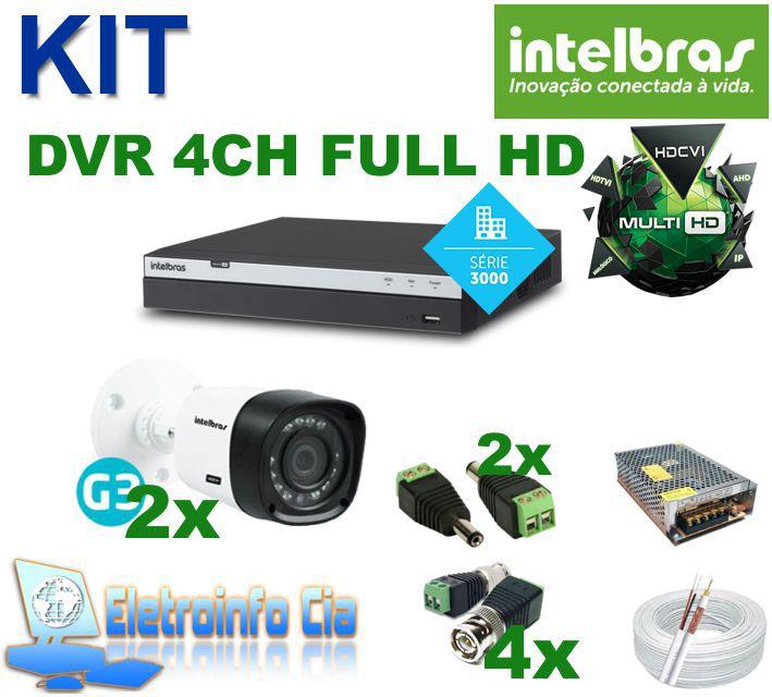 Kit Completo DVR 4 Canais 1080P + 2 Câmeras Intelbras