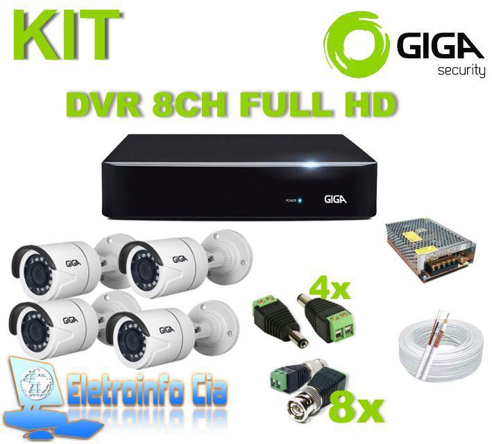Kit Completo DVR 8 Canais 1080PN + 4 Câmeras GS0271 Giga
