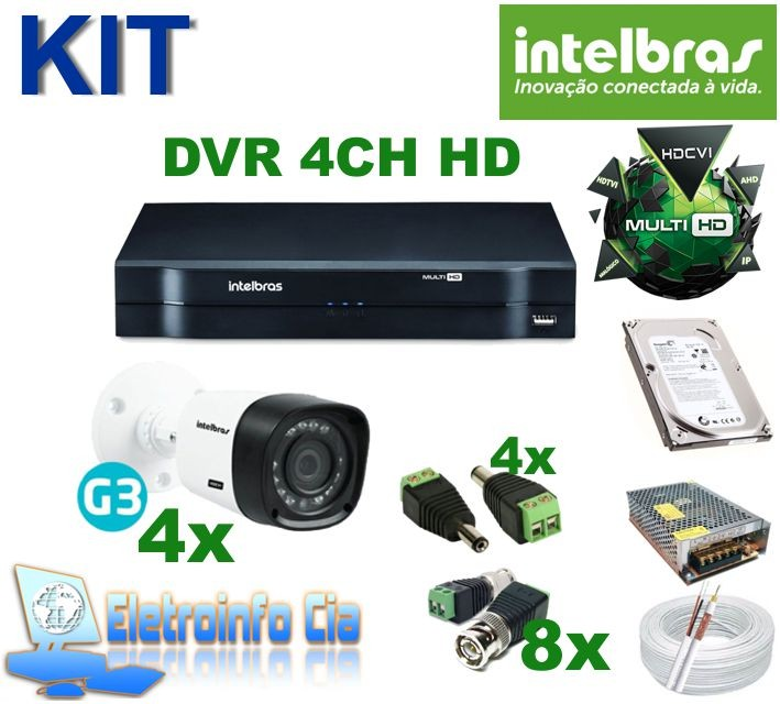 Kit Completo Gravador de Video Digital DVR 4 Canais 720P Intelbras  - Eletroinfocia