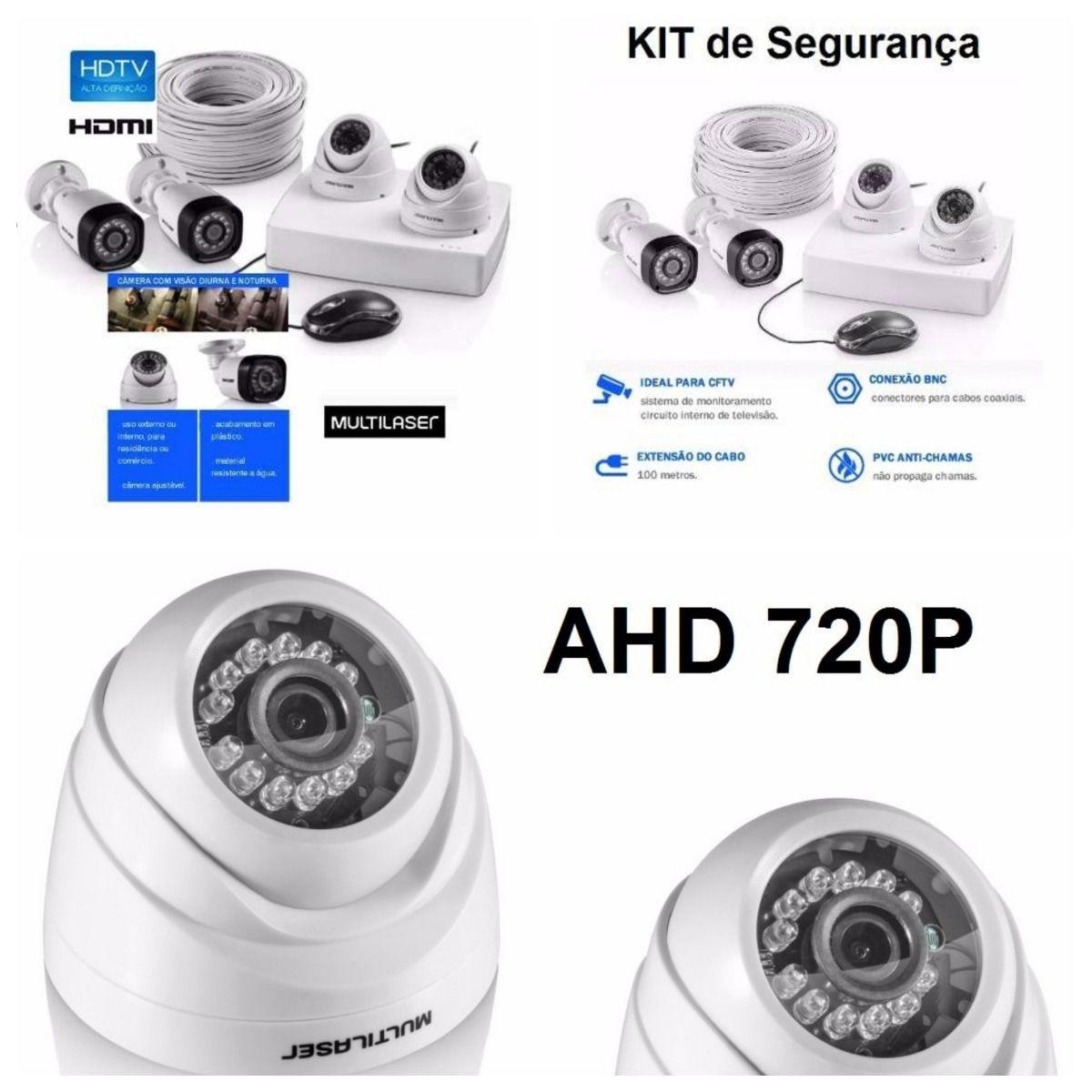 Kit DVR 1080N 4 Canais + 4 Câmeras AHD 720P 1/4 3.6MM SE118 Multilaser  - Eletroinfocia