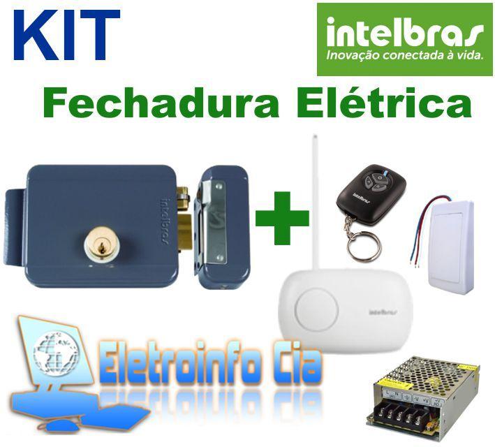 Kit Fechadura Elétrica FX 2000 + Receptor + Controle  + Fonte Intelbras  - Eletroinfocia