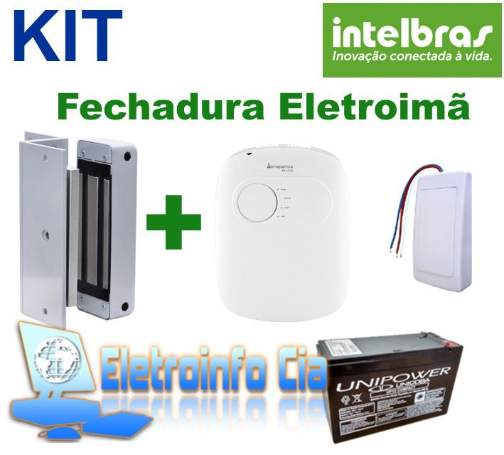 Kit Fechadura Eletroima FE20150 + Fonte FA1220S + Botoeira + Bateria Selada Intelbras  - Eletroinfocia