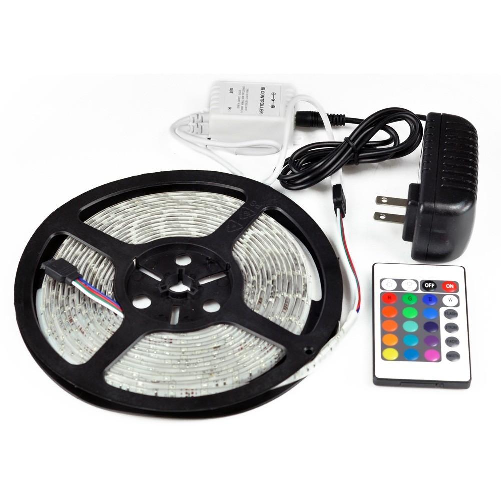 Kit Fita de Led Silicone prova d Água Adesiva RGB + Controle + Fonte 5050 c/ 5 Metros