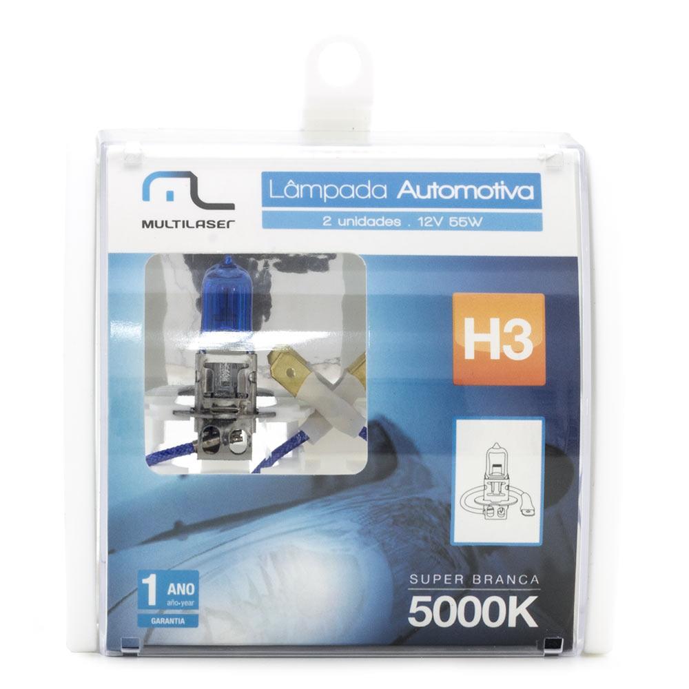 Lâmpada Super Branca H3 12V 60/55W 5000K AU804 Multilaser