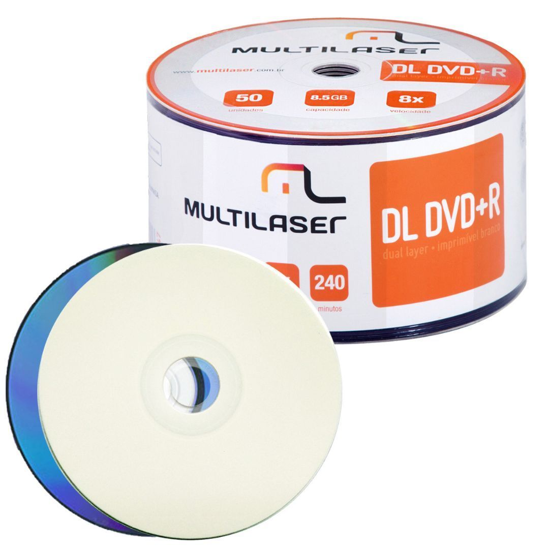 Mídia DVD+R 8.5GB 8X Dual Layer Printable (Unidade)