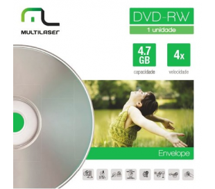 Mídia DVD-RW 4.7GB 4X Regravável Envelope DV064 Multilaser  - Eletroinfocia