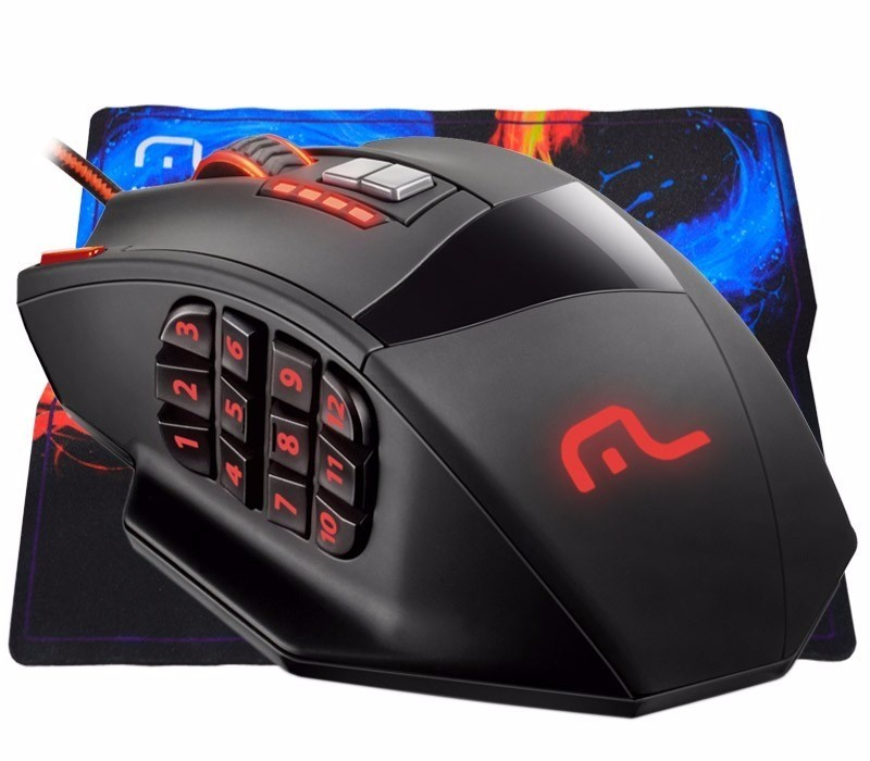 Mouse profissional laser 18 botões  preto MO206 Multilaser.  - Eletroinfocia