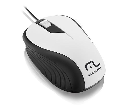 Mouse USB Emborrachado Wave Branco MO224 Multilaser