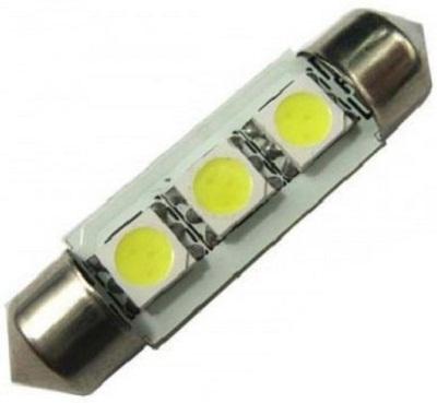 Par de Lâmpada Automotiva Torpedo 36mm 3 LEDS p/ Teto KX3