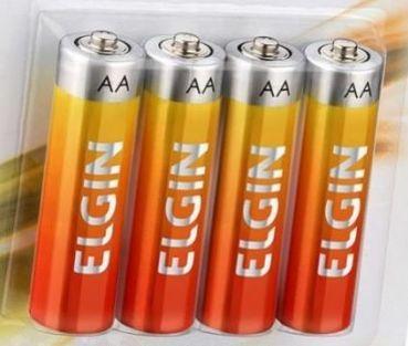 Pilha AA Zinco / Carvão com 4 unidades Elgin