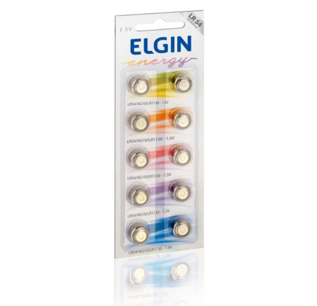 Pilha Botão Alcalina AG10/LR1130/LR54 Elgin (c/ 02 unidades)