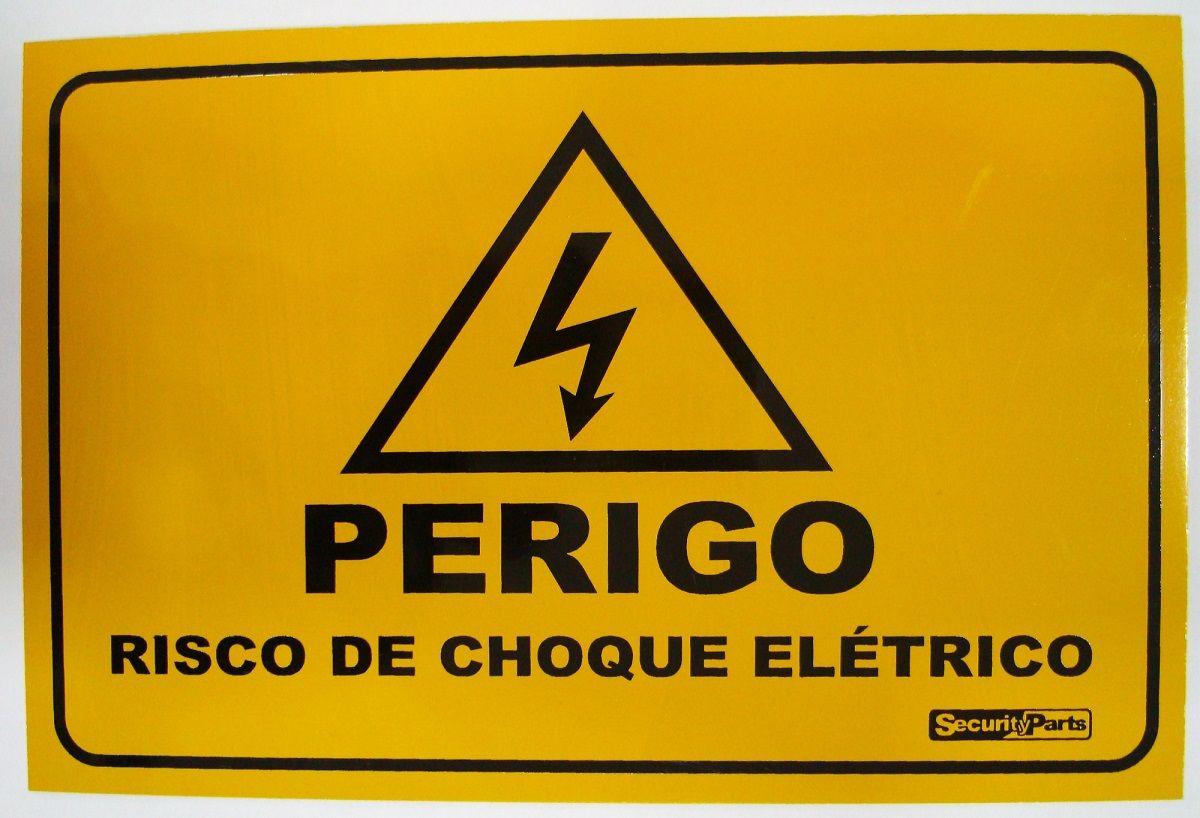 """Placa Advertência """"Perigo Risco de Choque Elétrico"""" 18x13CM Alumínio  - Eletroinfocia"""