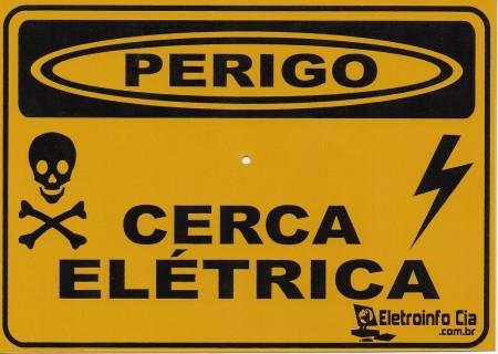 Placa Perigo Cerca Elétrica 17,8x12,6CM Alumínio EIC