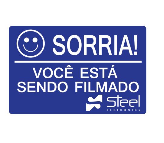 Placa Sorria Você Está Sendo Filmado 14X9CM Alumínio Azul