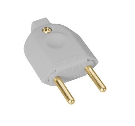 Plug AC Macho 2P 10A 250V Cinza Tramontina