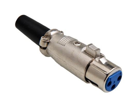 Plug Canon Fêmea XLR 3 Pinos C/Prensa Cabo Niquel  - Eletroinfocia