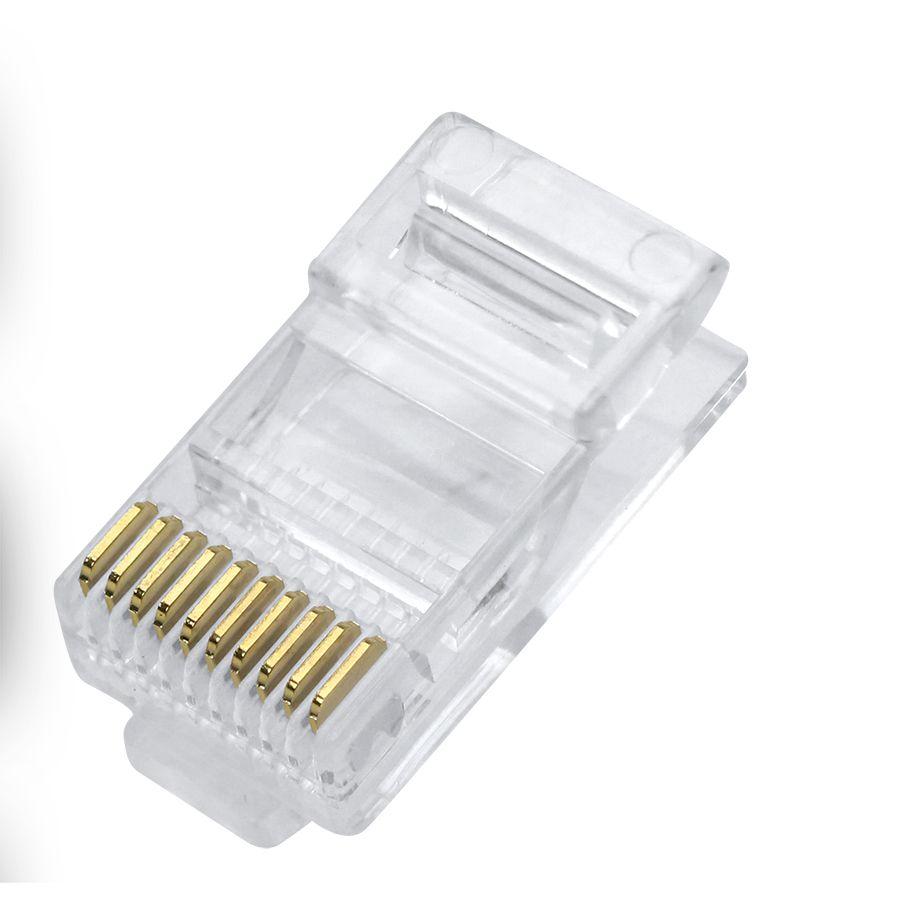 Plug Modular 10X10 (10 Vias) RJ45 Cat.5 Rede (Unidade)