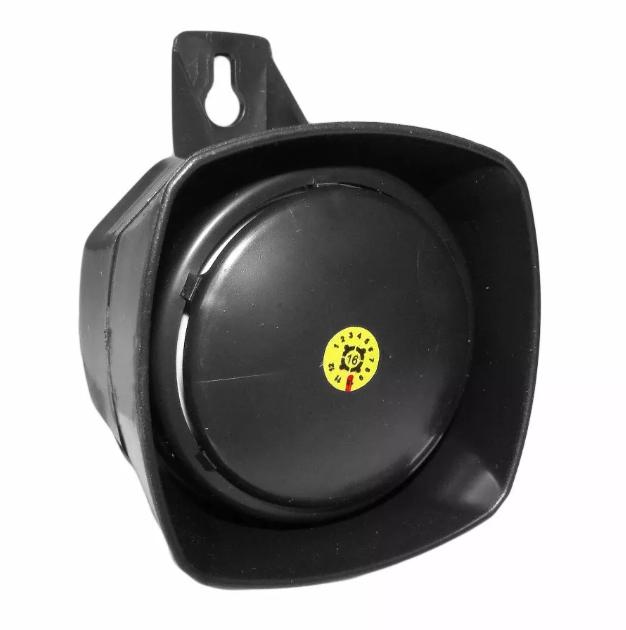 Sirene Compacta 120DB Monotonal Preta Security Parts  - Eletroinfocia