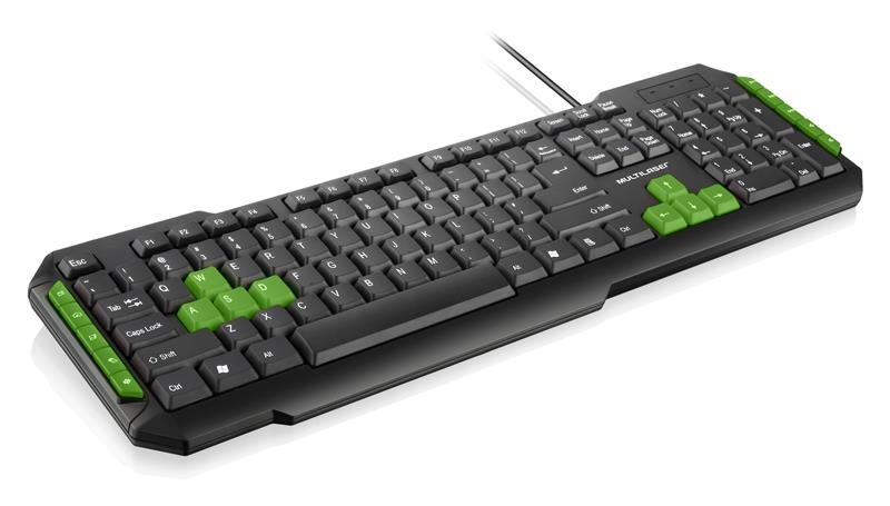 Teclado Multimidia Gamer Teclas Verdes USB TC201 Multilaser
