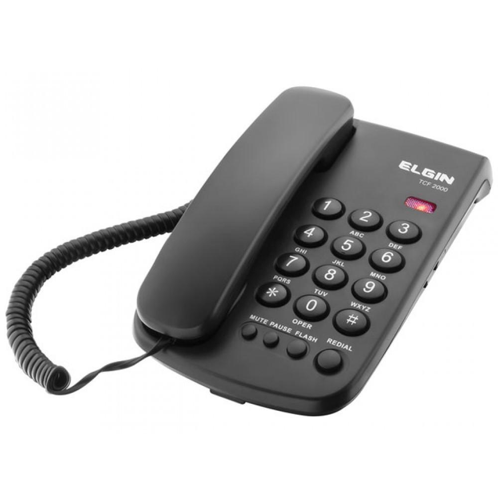 Telefone C/ Fio de Mesa Preto TCF2000 Elgin